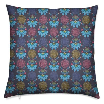 Blue Floral Craft Cushion