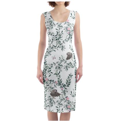 Leaves, Flowers and Birds Off White Bodycon Dress