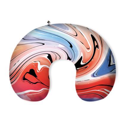 Neck Pillow - Multicolour Swirling Marble Pattern 5 of 12