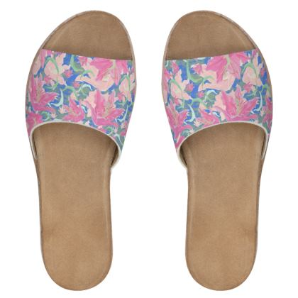 Womens Leather Sliders  Lily Garden  Romance