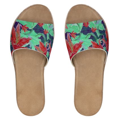 Womens Leather Sliders  Lily Garden  Jubilant