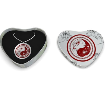 Koi Yin Yang Lotus Sterling Silver  Necklace