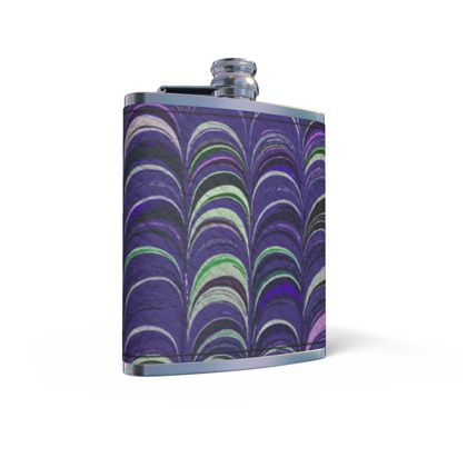 Leather Wrapped Hip Flask - Around Ex Libris Purple Remix (1800 -1950)