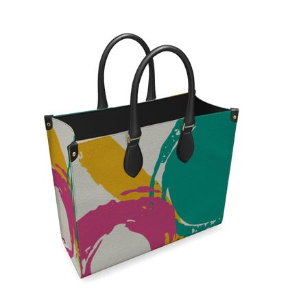 Leather bag modern abstract
