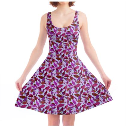 Skater Dress  Cathedral Leaves  Anemone