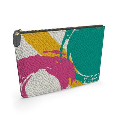 Modern abstract leather pouch