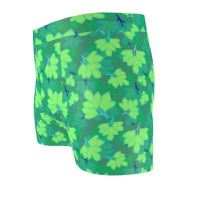 Cut & Sew Boxer Briefs  Oriental Leaves  Leaves on Green
