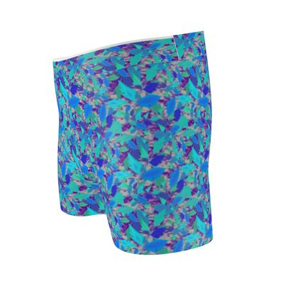 Cut & Sew Boxer Briefs  Cathedral Leaves  Blue