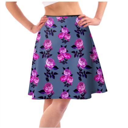 Rose print Flared Skirt