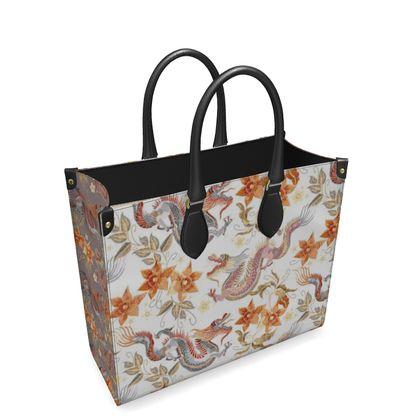 Oriental Dragons Floral Leather Shopper Bag