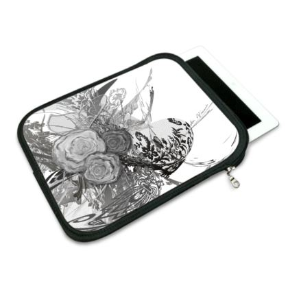 ipad slip case - ipad fodral - 50 shades of lace grey white