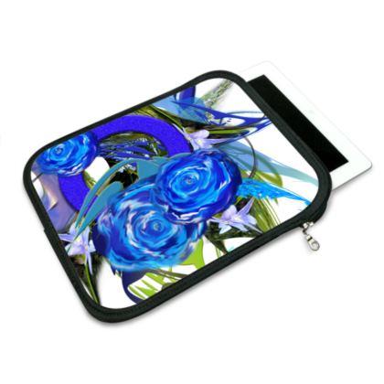 ipad slip case - ipad fodral - Blue flower white