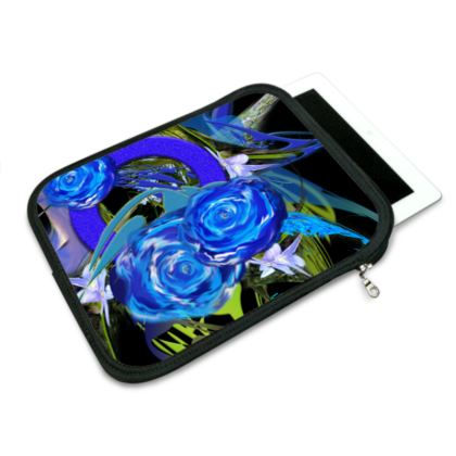 ipad slip case - ipad fodral - Blue flower black