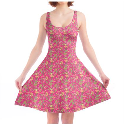 Skater Dress  Cathedral Leaves  Peony
