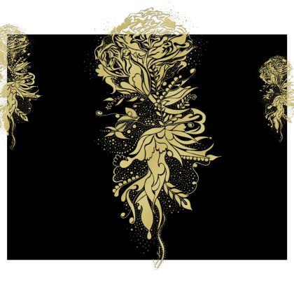 Kimono - Gold Ink Flower Black
