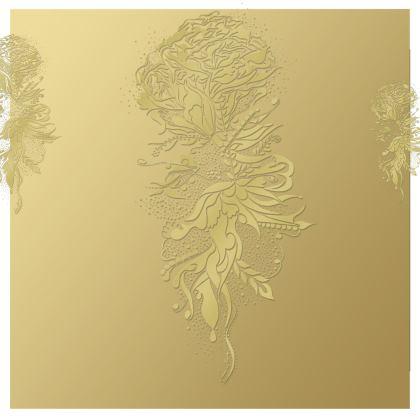Kimono - Gold Ink Flower Gold