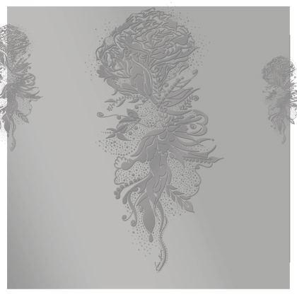 Kimono - Silver Ink Flower Silver