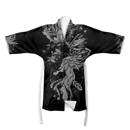 Kimono - Silver Ink Flower Black