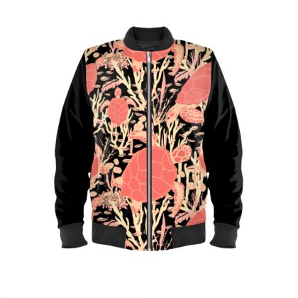 Mens Bomber Jacket Pink and Black Aquatic Wildlife Design