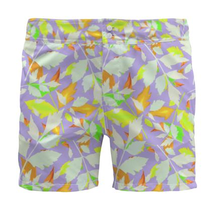Board Shorts  Diamond Leaves  Pastels on Lilac