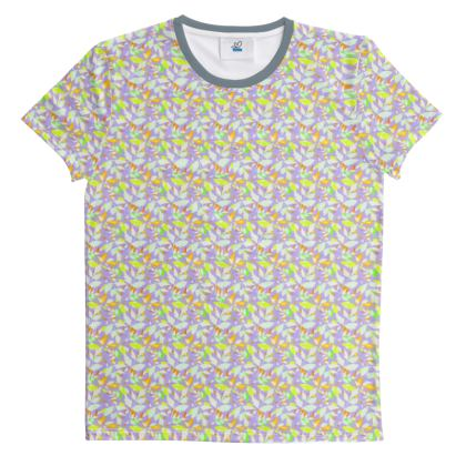Cut And Sew All Over Print T Shirt  Diamond Leaves  Pastels on Lilac