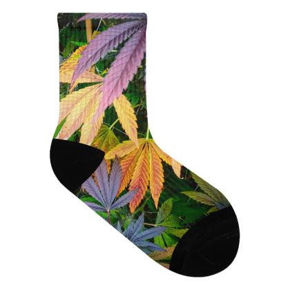 Colorful Cannabis Leaf Socks.