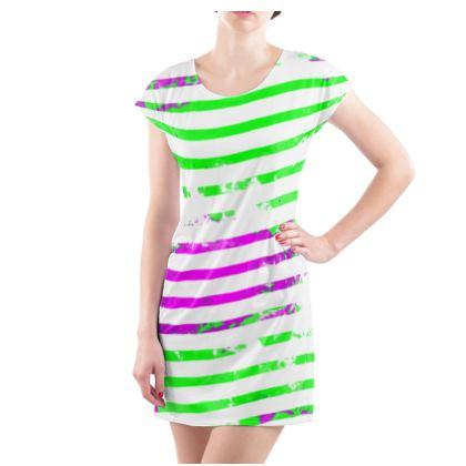 Ladies Tunic T-Shirt, Emmeline Anne Bright Stripes