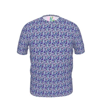 Mens Cut And Sew T-Shirt  Diamond Leaves  Lagoon