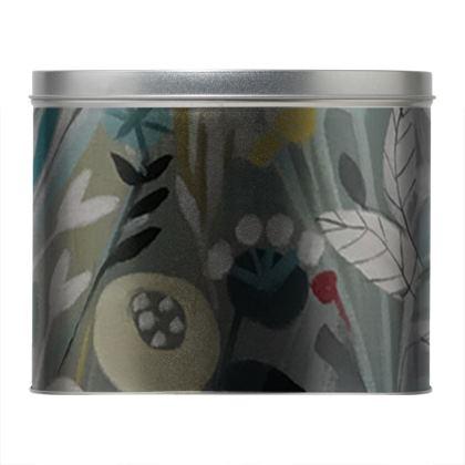 Round Tin in Natalie Rymer Winter Greys design