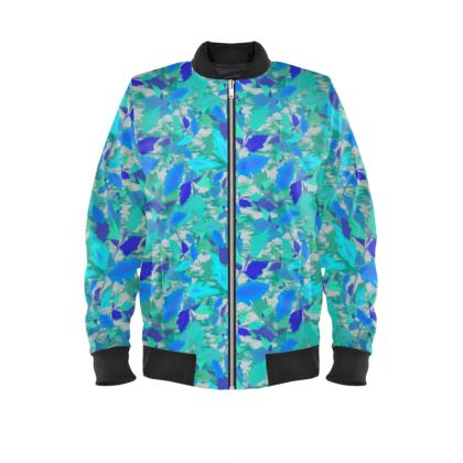 Mens Bomber Jacket  Cathedral Leaves  Turquoise Teal