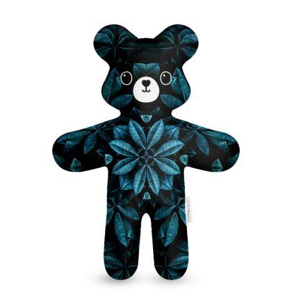 Teal Leaves Mandala - Teddy Bear