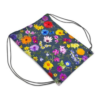 Drawstring Bag - Tangle of Wild Flowers