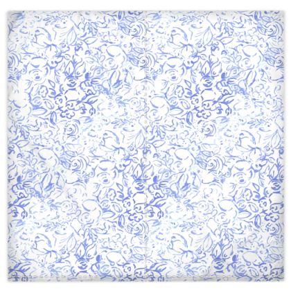 housse de couette fleurs bleues