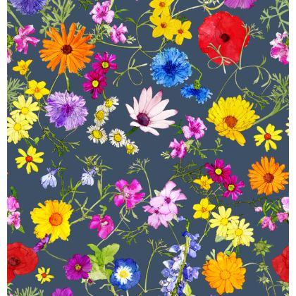 Zip Top Handbag - Tangle of Wild Flowers