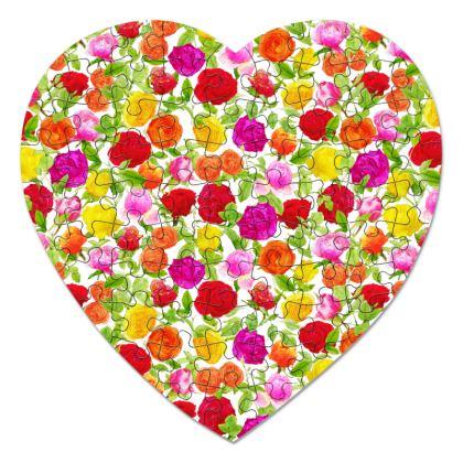 Heart Jigsaw - Riot of Roses