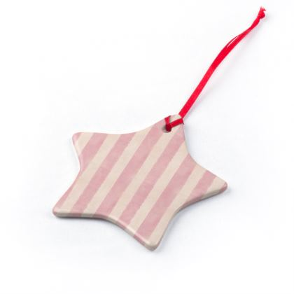 Pink Stripes Christmas Ornaments