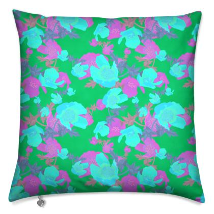 Cushions  Field Poppies  Violet Green
