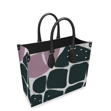 Leather Shopper Bag- Emmeline Anne Black Pineapple