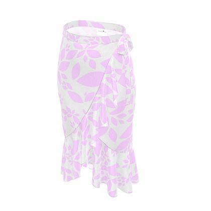 Flounce Skirt- Emmeline Anne Pink Leaves