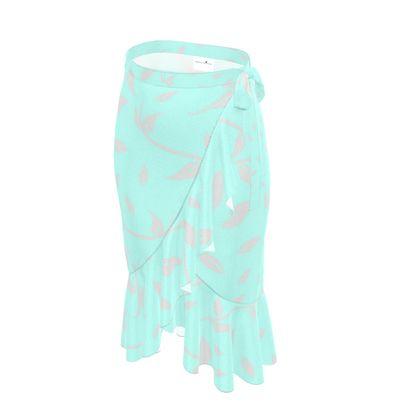 Flounce Skirt-  Emmeline Anne, Silver/Turquoise Leaves