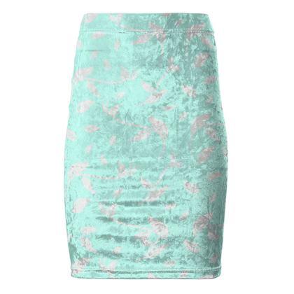 Pencil Skirt- Emmeline Anne Sparkling Silver/Turquoise Leaves