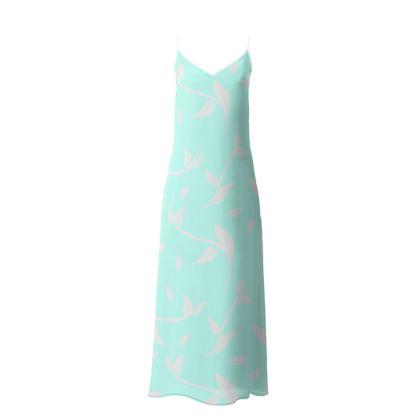 Slip Dress- Emmeline Anne Sparkling Silver/Turquoise Leaves