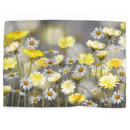 Dandelion and Daisy Meadow  Tea Towel