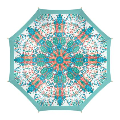 Teal Damask Umbrella