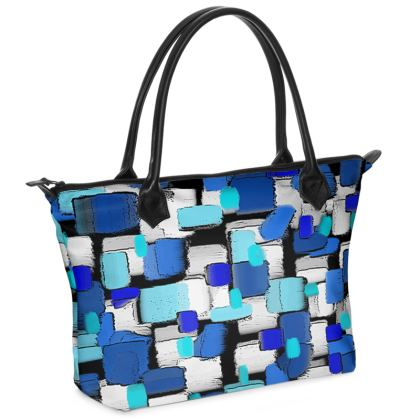 Blue Brick Zip Top Handbag