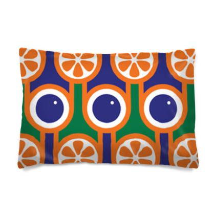 Blue blueberries orange oranges reversible pillowcase