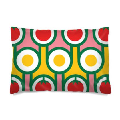 Yellow fried eggs red tomatoes reversible pillowcase