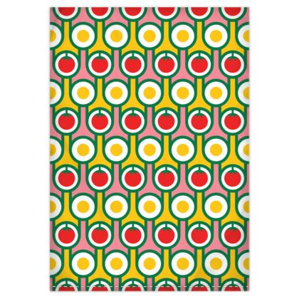 Yellow fried eggs red tomatoes reversible duvet cover