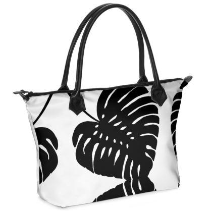 Black and White Tropics Zip Top Handbag