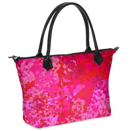 Carnations Zip Top Handbag